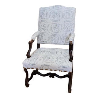 17th Century French Provincial Louis XIV Walnut Armchair With Modern Upholstery For Sale