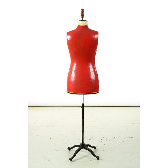 Wood 19th century Antique Mannequin Painted Torso Form w/Cast Iron stand For Sale - Image 7 of 9