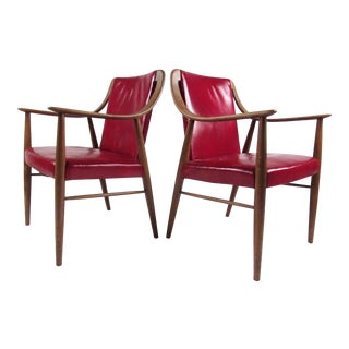 Pair of Vintage Leather Side Chairs After Peter Hvidt For Sale
