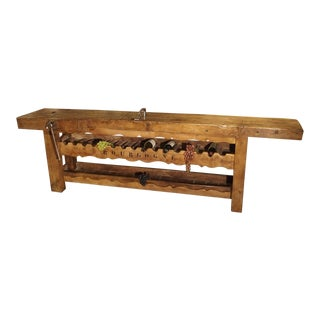 "Antique ""Bourgogne"" French Wine Carrier Converted From a Workbench For Sale"