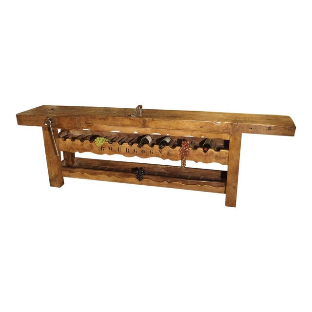 """Antique """"Bourgogne"""" French Wine Carrier Converted From a Workbench For Sale"""