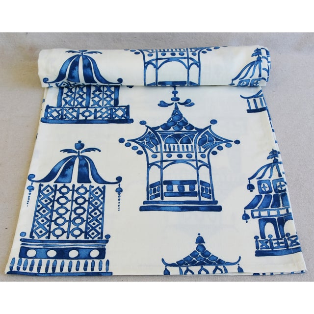 """Custom tailored 110""""L table runner created from a vintage/never used fabric depicting a blue and white chinoiserie pagoda..."""