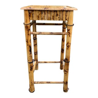 Vintage Tortoise Burnt Bamboo Plant Stand For Sale