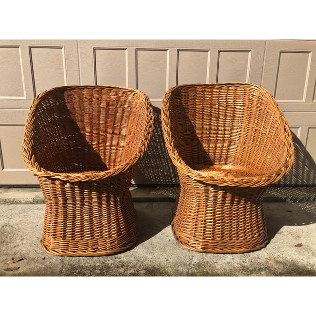 Mid-Century Modern 1960's Vintage Wicker Scoop Chairs & Cushions - A Pair For Sale - Image 3 of 8