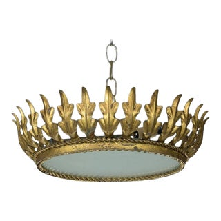 Mid-Century Spanish Sunburst Gilt Crown Ceiling Fixture For Sale