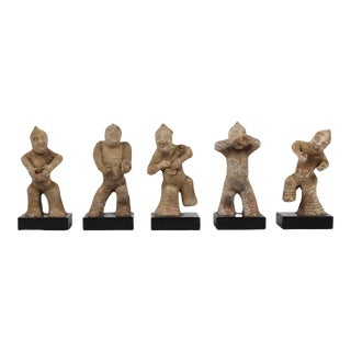 Chinese Han Dynasty Replica Pottery Musicians and Dancers - Set of 5 For Sale
