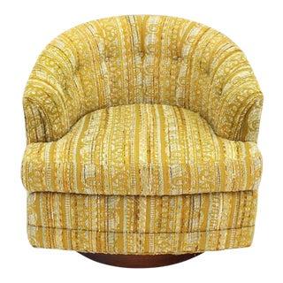 Early 20th Century Vintage Barrel Back Walnut Base Swivel Lounge Chair For Sale