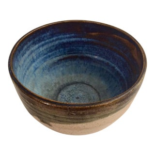Mid Century Studio Pottery Blue & Brown Glazed Bowl For Sale