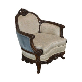 French Louis XIV Renaissance Revival Style Antique Elaborately Carved Walnut Frame Bergere Chair For Sale