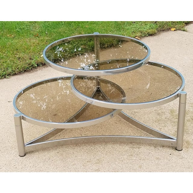 Mid-Century Modern Milo Baughman Tri Level Chrome and Glass Swivel Coffee Table For Sale - Image 3 of 11