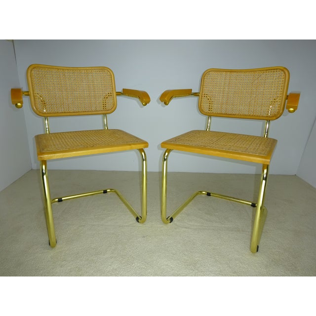 Italian Marcel Breuer Cesca Brass Armchairs - a Pair For Sale - Image 3 of 11