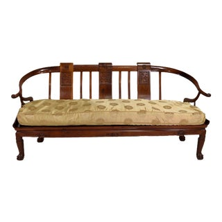 Mid-Century Mont Style Chinoiserie Horseshoe Rosewood Bench Settee For Sale