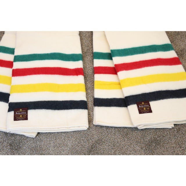 Vintage New Old Stock Early's of Witney Four Point Color Stripe Wool Blankets - a Pair For Sale In Tampa - Image 6 of 10