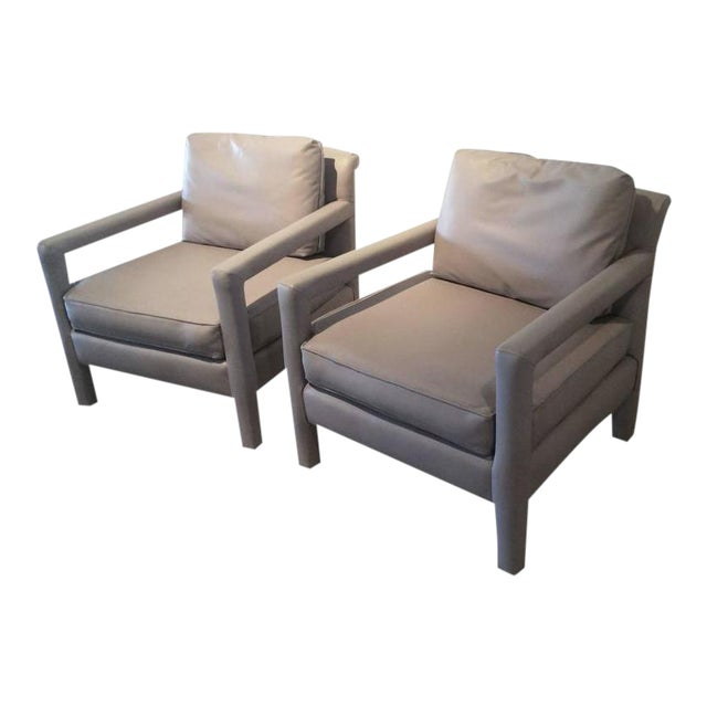 Vintage Milo Baughman Style Parsons Grey Leather Arm Chairs - A Pair - Image 1 of 12