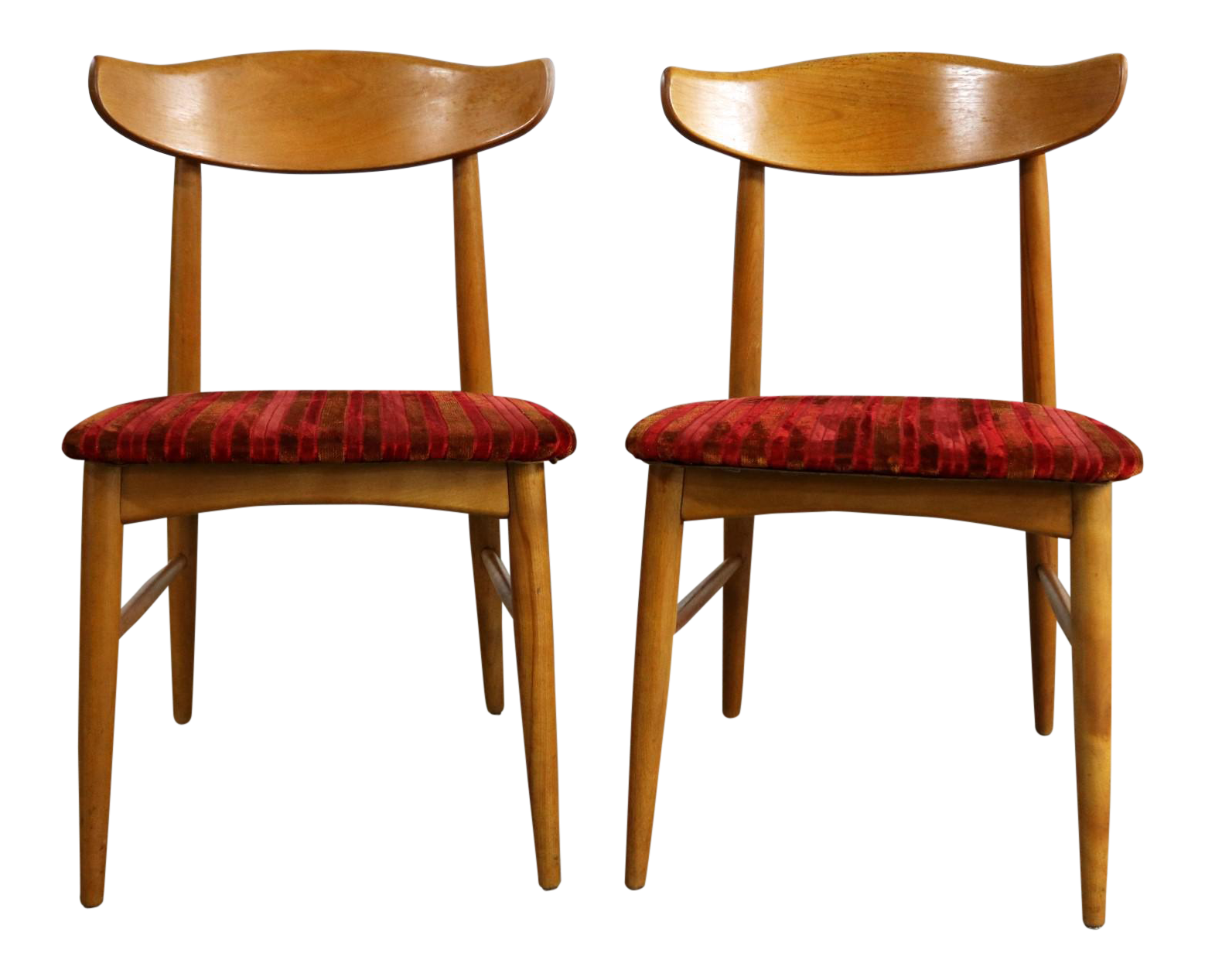 Mid Century Modern Birchcraft Danish Style Side Chairs By Baumritter   A  Pair
