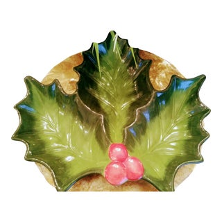 Large Ceramic Christmas Holiday Fitz and Floyd Style Holly Serving Platter For Sale