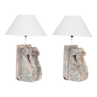 Antique Corbel Table Lamps - a Pair For Sale
