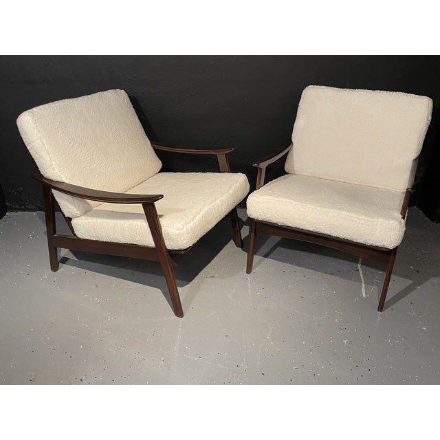 Mid-Century Modern Lounge Chairs/ Style of Ib Kofod-Larsen, Plush Sherpa - a Pair For Sale - Image 11 of 11