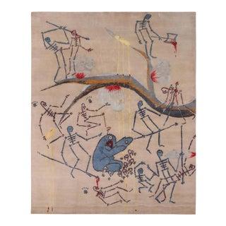 Artist Gianni Lee X Rug & Kilim Modern Pictorial Custom Rug - Wool and Silk For Sale
