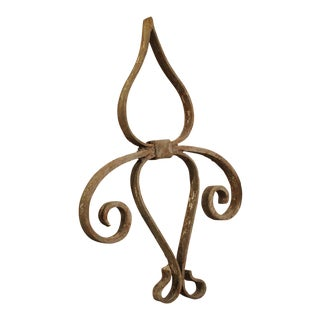 18th Century Forged Iron Fleur De Lys Ancre Wall Support From France For Sale