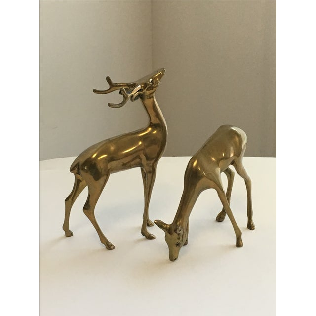 Brass Deer Figurines - A Pair - Image 3 of 7