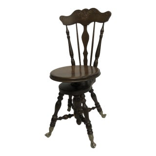 Antique Wood High Back Swivel Piano Stool With Glass Ball & Iron Claw Feet For Sale