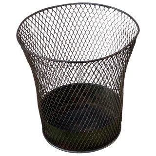 Vintage Industrial Wire Mesh Waste Paper Basket For Sale