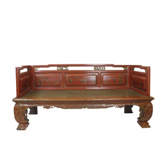 1900s Vintage Hand Painted and Carved Red Daybed For Sale