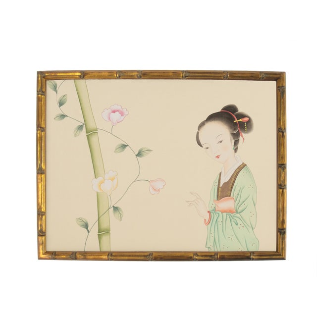 Vintage Chinoiserie Female Courtesan and Botanics in Gilt Faux Bamboo Frame For Sale In Los Angeles - Image 6 of 6