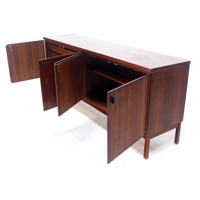 Early 20th Century Mid-Century Modern Long Walnut Credenza Cabinet Server For Sale - Image 5 of 9