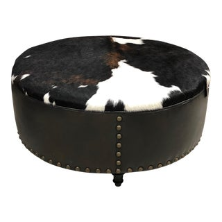 Round Large Cowhide Hair on Hide Leather Ottoman For Sale