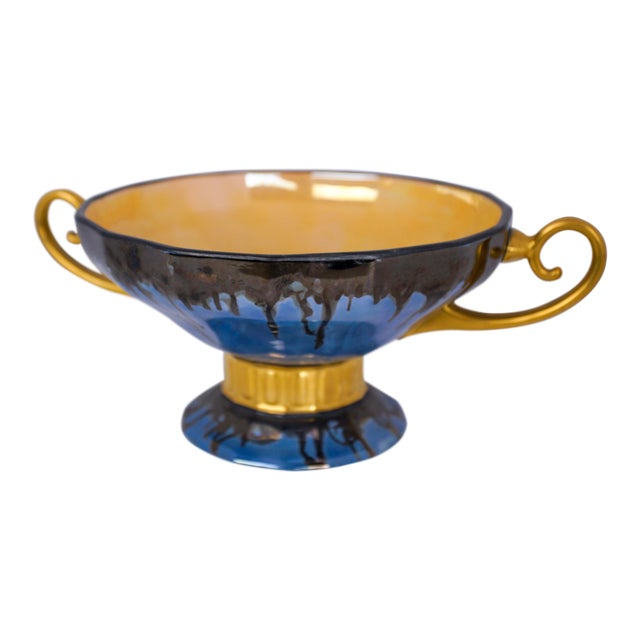 20th Century Contemporary Glazed Blue and Gold Ceramic Footed Bowl For Sale