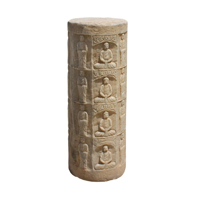 Chinese Distressed Stone Carved Buddhas Display Pole Statue For Sale