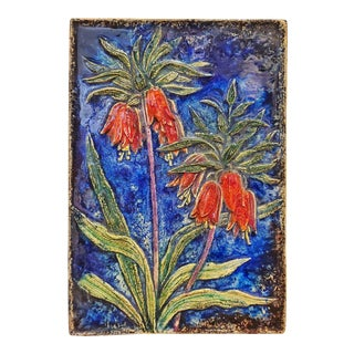 Werner Meschede 'Kaiserkrone' (Kaiser's Crown) Botanical Wall Tile Nr. 7337 for Majolika Karlsruhe For Sale