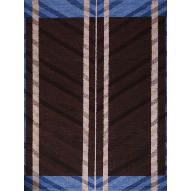 Swedish Flatweave in Custom Design Rug - 9' X 12' For Sale