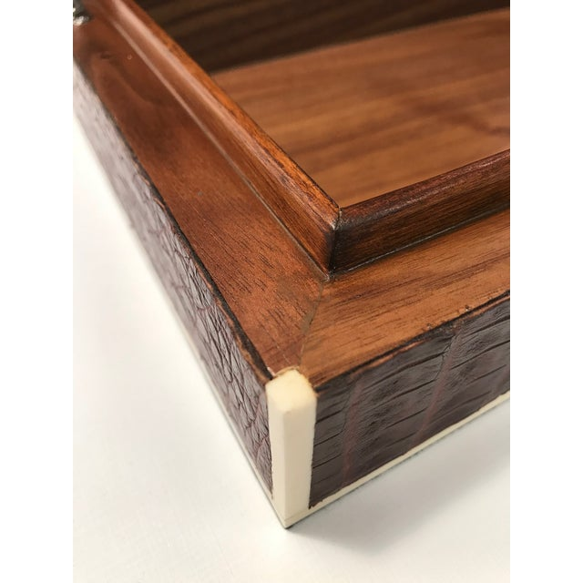 Brown Bone Inlay Brown Crocodile Box For Sale - Image 8 of 10