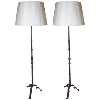 Wrought Iron Floor Lamps - a Pair For Sale