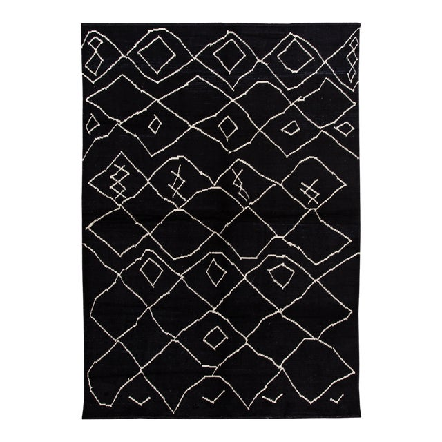 Modern Moroccan Style Wool Rug 10 X 14 For Sale