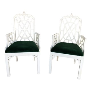 1970s Vintage Palm Beach Regency Chinoiserie Pagoda Arm Chairs- a Pair For Sale