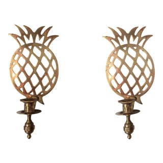 Brass Pineapple Sconces - A Pair For Sale
