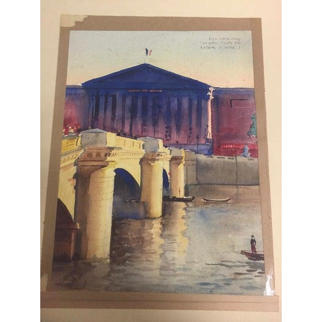 White David L. Swasey Original Palais Bourbon, Paris on Reverse Side Watercolor Seascape Painting For Sale - Image 8 of 13