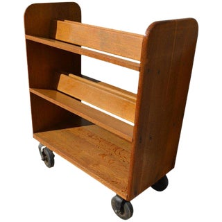 Midcentury Oak Book Cart With Slanted Shelves on Wheels From Public Library