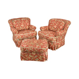 Pearson Custom Floral Upholstered Lounge Chairs With Ottoman For Sale