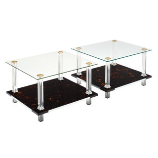 French Modernist Altuglass and Lucite Side Tables - a Pair For Sale