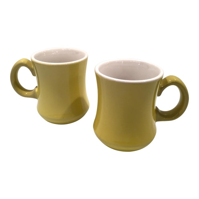 Mid-Century Green Mugs - A Pair - Image 1 of 6