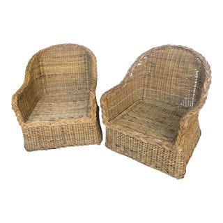 1970s Vintage Rattan Braided Barrel Chairs- a Pair For Sale