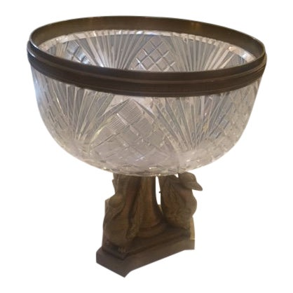 1900's French Crystal Bowl With Bonze Bird Base For Sale