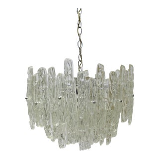 Kalmar Mid-Century Modern 3-Tiered Lucite & Chrome Icicle Dripped Chandelier For Sale