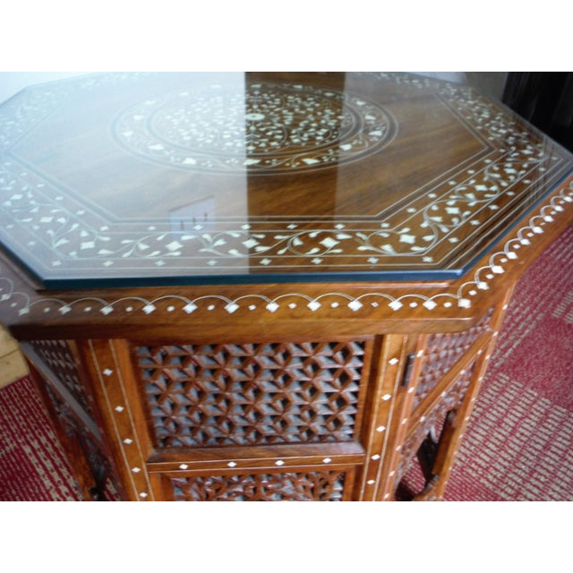 Arabic Style Carved and Inlayed Table For Sale - Image 9 of 9
