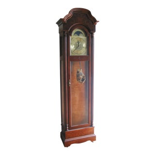Vintage Howard Miller Cherry Grandfather Clock For Sale
